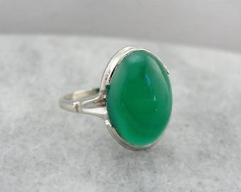 Vintage Green Onyx Ring in White Gold, Sleek and Sophisticated MAJ02H-P