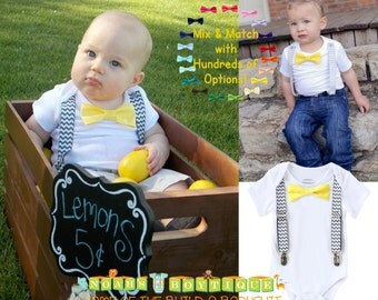 Grey and Yellow Baby Boy Clothes - Baby Boy Outfits - Grey Chevron Suspenders Yellow Bow Tie - Lemons - Lemonade Stand - Spring - Wedding