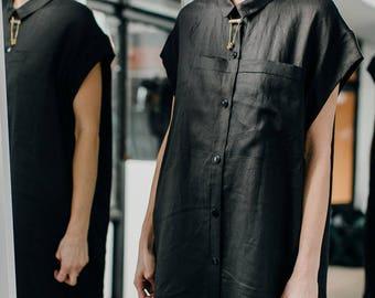 N A G A T A B I 09 /asymmetrical linen shirt/