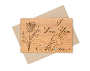 I Love You Mom Wood Card. Birthday Gift for Mom. Mothers Day Card Floral.
