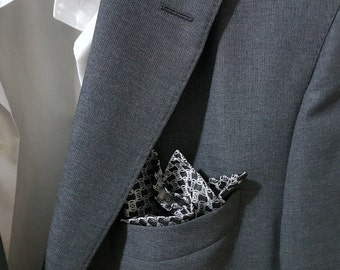 SILK Pocket Square in Black and White
