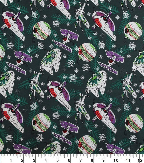 Star wars cotton christmas fabric 44 39 39 space ships bthy for Space cotton fabric