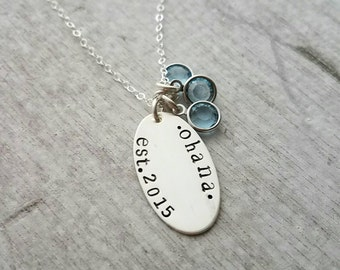 Ohana Family Necklace, Mother, Nana or Grandma, Personalized Name Necklace With Birthstones