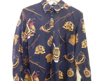 1990's, LAUREN, Ralph Lauren, Cotton, Long Sleeve, Button Up, Shirt, Women's XL