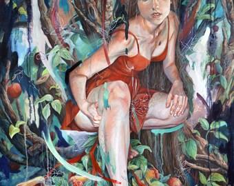 SALE 20% OFF: Reclaiming Eden Original Pop Surrealism, Magical Realism, Self Portrait, Oil Painting with apples, Eve Garden of Eden Wall Art