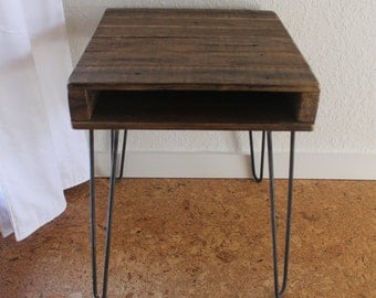 The Newton Side Table - Reclaimed Wood Side Table on Hairpin Legs