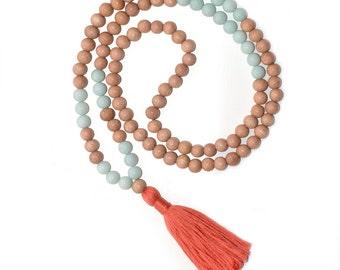 Handmade 108 Tibetan Mala, Meditation Mala Beads, Tangerine/Coral Tassel, Wood Japa Mala, Amazonite Prayer Beads