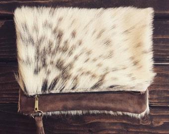 Caroline Fold Over Clutch/ Fold over Clutch/ Fur Clutch/ Fur Fold over Clutch/ Fur Bohemian clutch/ Bohemian Clutch/ Handmade Clutch