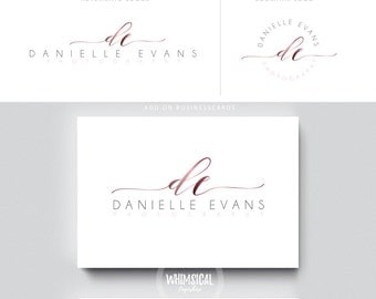 swirly script initials circle nutral businesscards simple modern feminine branding boutique logo Identity artist makeup wedding photographer