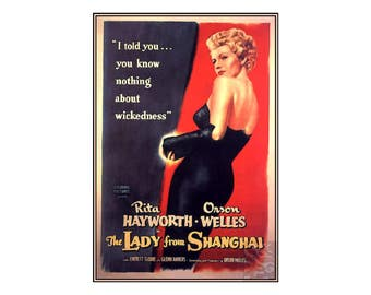 The Lady From Shanghai 1947 Movie Film Vintage Poster Print Classic Crime Drama Movie Retro Art  Free US Post Low EU Post