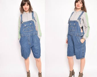 Vintage 90's Denim Overalls Shorts