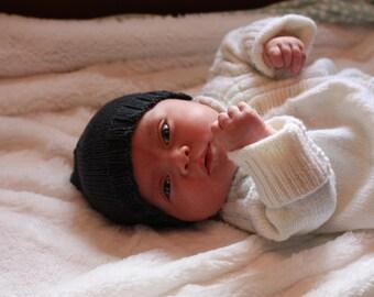 Knit Newborn Hat, Gray Wool Baby Hat, Wool Newborn Hat, Charcoal Knit Newborn Baby Hat, Grey Baby Hat, Baby Beanie, Gender Neutral Baby Gift
