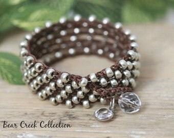 Silver Wrap Bracelet, Crochet Jewelry, Swarovski Element Crystal Charm, Long Necklace, Anklet, Brown, Bohemian Jewelry, Seed Bead Bracelet