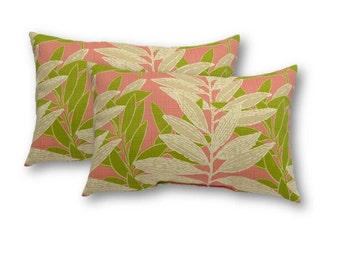 Set of 2 - Indoor / Outdoor Jumbo / Large / Over-sized Lumbar Rectangle Pillows - Coral, Green and Ivory Leaves