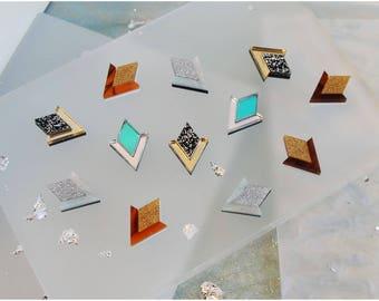 Diamond Segment Stud Earrings. Laser Cut Acrylic Perspex. Marbled Geometric Deco Chevron Mirror Gold Black Glitter Holographic Iridescent