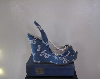 90's Dolce and Gabbana Denim Wedges sz 8 1/2 9