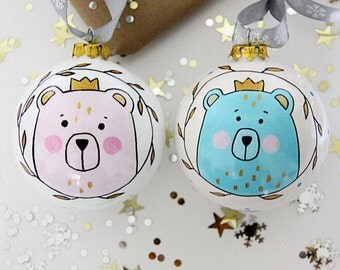 Personalized Baby's First Bauble Pink Bear Blue Bear Christmas Bauble