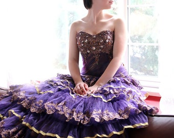 Strapless Baroque Queen Style Golden French Lace Sweetheart Trumpet Wedding Gown in Gothic Purple Organza and Tulle - L'Amei 2017