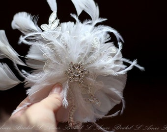 Ivory Lace Feather Fascinator Wedding Hair Clip Bridal Hair Comb