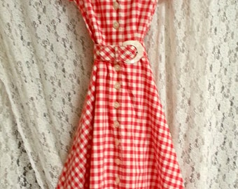 Vintage 1980's rockabilly swing red and white check country dress size 8