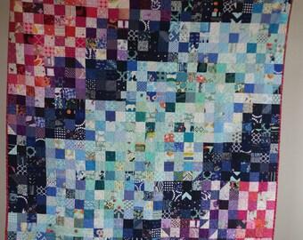 Jewel tones lap/throw quilt