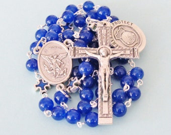 Police Rosary,Serve and Protect, St Michael; blue enamel Our Father beads