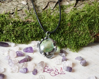 Pewter pendant jewel green glass ball elven fairy pewter color old money new art