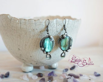Earrings labradorite gem Tin elven fairy pewter color old money new art