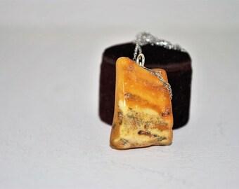 Vintage Sterling Egg Yolk Amber Pendant - 1960s Estate Baltic Amber Necklace