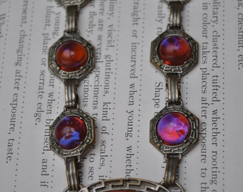 Antique Dragon's Breath Necklace - 1920s Art Deco Jelly Opal Necklace