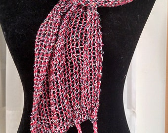 Hand-woven lacy mesh light-weight scarf in red gray silver black   loose woven lace scarf   multicolor leno lace scarf   light woven scarf