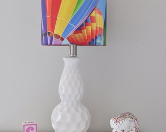 Rainbow Balloon Lampshade, Handmade Drum Lamp Shade, Fine Art Photo of Colorful Hot Air Balloons, Nursery/Kids Room Decor, Custom Lighting