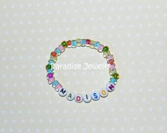 Personalized Kids ID Bracelet, Personalized Gift, Multi Color, Pink ID Bracelet, Glass Bead - Child Size Jewelry, Letter Bracelet