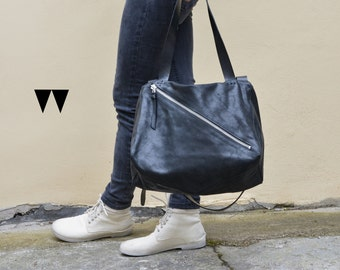 Sayo leather bag crossover messenger black waxed suede