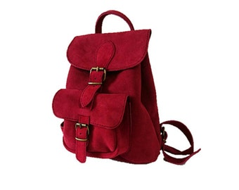 Leather Backpack purse, Suede Backpack Purse, Leather Rucksack, Leather Bag, Suede Rucksack, Women Satchel, Red Backpack, suede backpack