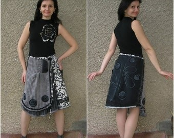 Asymmetric Wrap Skirt, upcycled clothing by EcoClo, size M-L