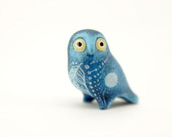 Moon Owl Bird Animal Figurine Sculpture Totem Fantasy