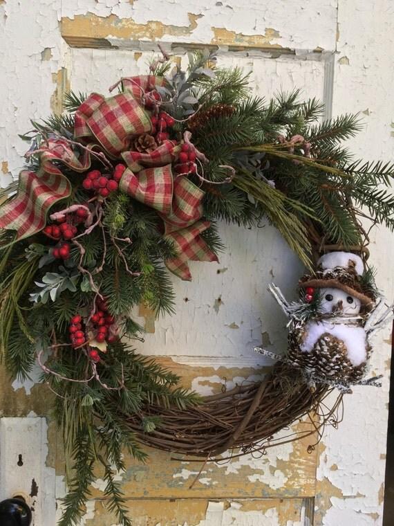 Rustic Christmas Wreath Snowman Wreath Holiday Wreath