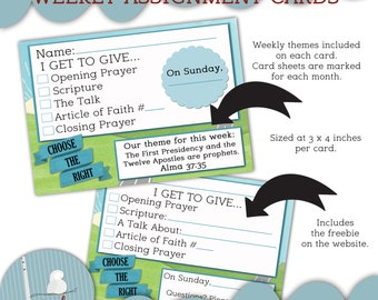 2017 Weekly Themes Assignment Cards