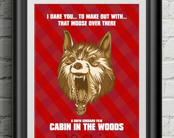 Cabin the Woods - Moose Wolf Joss Whedon Chris Hemsworth Movie Film Poster Art Print Wall Decor Poster Motivational Movie Quote