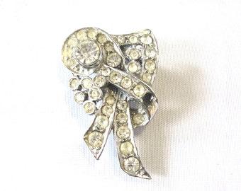 Vintage Art deco style faux diamond brooch silver toned metal brooch scarf pin costume jewellery jewelry Irish Ireland
