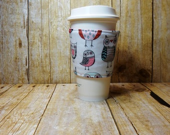 Fabric Coffee Cozy / Owl Cuties Coffee Cozy / Owl Coffee Cozy / Bird Coffee Cozy / Coffee Cozy / Tea Cozy
