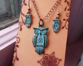 Owl Collection Charms Set Necklace & Earrings Birthday Night Owl Mykonos Greek Copper Wife Mom Daughter Sister Wise Elder Ornithology Birder