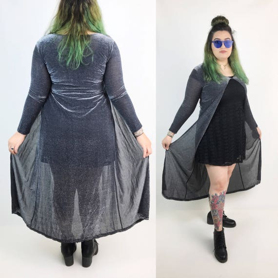 Vintage Black & Silver Metallic Open Layer/Duster - Large Layering Piece Goth Glam Long Sleeve Duster - Glittery Silver Sheer Top Long Loose