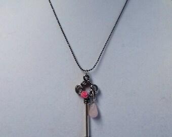 Silver Key Necklace. Pink Rose & Light Pink Quartz Tear Drop.