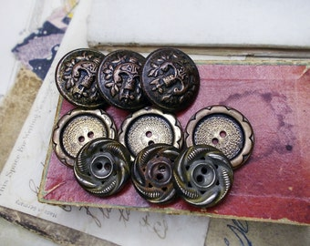 Vintage Metal Buttons - 9 Rustic Oxidized Buttons - 3 Sets - Gold & Silver Tone - Antiqued Aged Patina - Floral Fancy Border, Assemblage