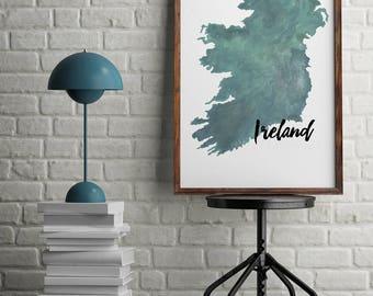 Map Art - Map Print - Ireland - Watercolor Print of Ireland - Digital Download - Printable Poster - Office Art - World Map