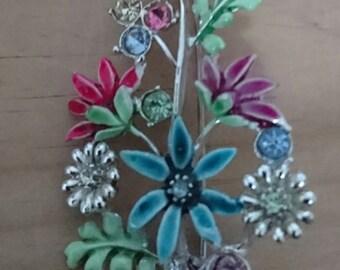 Vintage enamel and rhinestone flower spray brooch