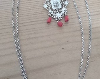 Vintage filigree silver pendant with coral drops and chain