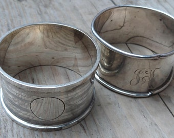 Two vintage sterling silver napkin rings